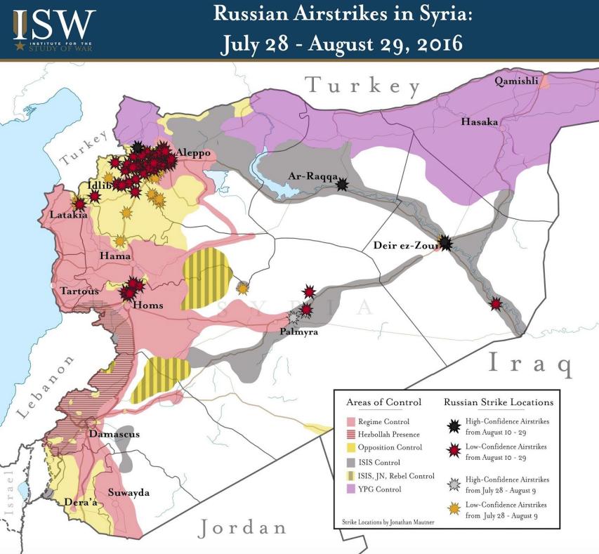 ロシアの空爆の詳細図
