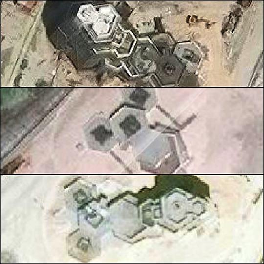 6角形の構造物の衛星画像