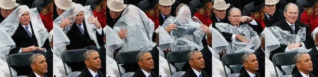 ビニールのポンチョと悪戦苦闘するジョージ・W・ブッシュ氏 —— トランプ大統領の就任式で