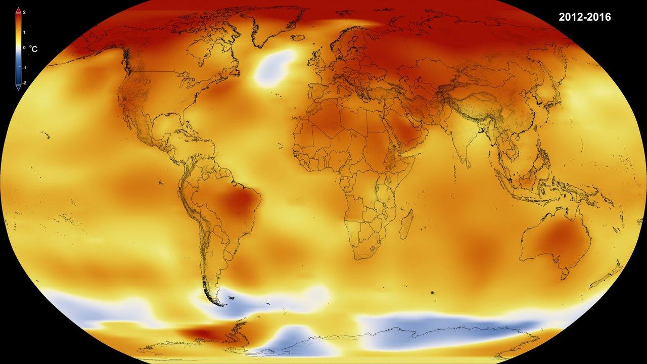 2012年〜2016年の世界平均温度のイメージ