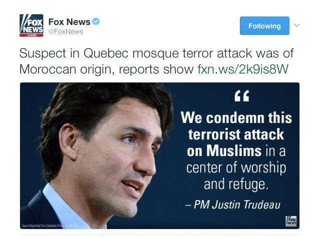 canadian-prime-ministers-office-asks-fox-news-to-retract-misleading-tweet-about-quebec-mosque-shooting