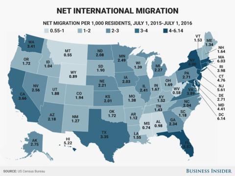 すべての州で移民が増え続けている —— 米国勢調査局調べ