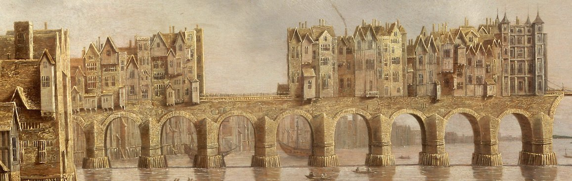 in-1176-king-henry-ii-commissioned-a-new-stone-bridge-finished-in-1284-the-original-london-bridge-would-stand-for-over-600-years-it-supported-homes-and-shops--which-weighed-down-its-arches-over-time