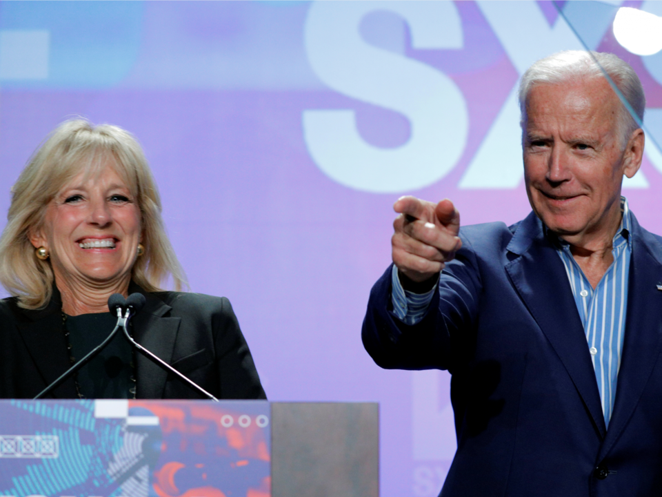 Biden was introduced by his wife, Jill Biden, before speaking at South by Southwest on Sunday.