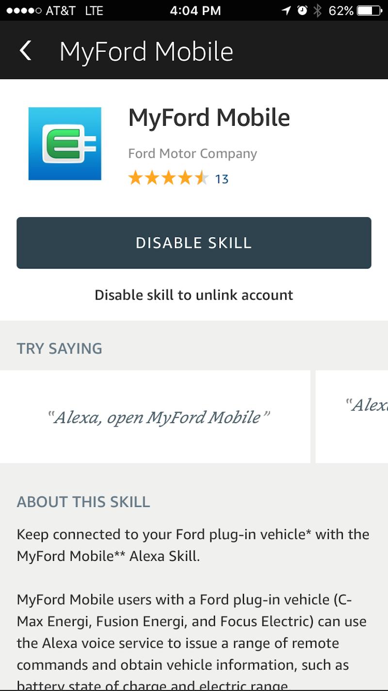 AlexaアプリのMyFord Mobileスキル