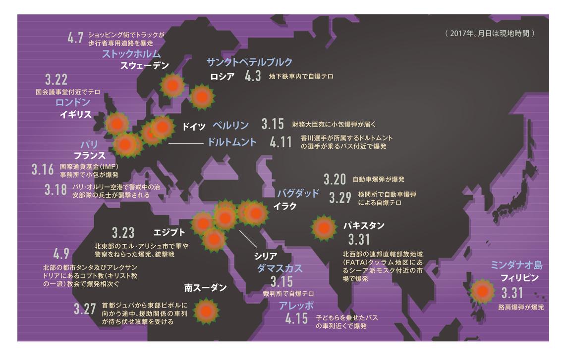 テロ等の発生状況をまとめた地図