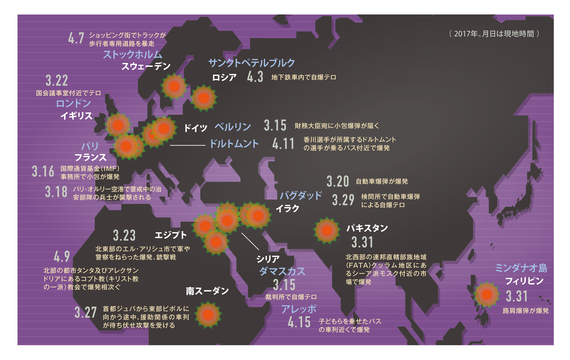 地図で見る世界のテロ —— 3月はヨーロッパで頻発、ペースは3日に1度