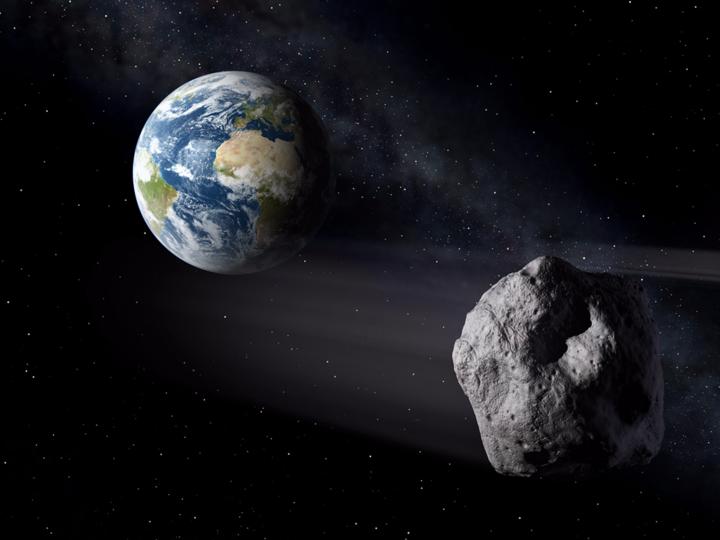 地球と小惑星(予想図)