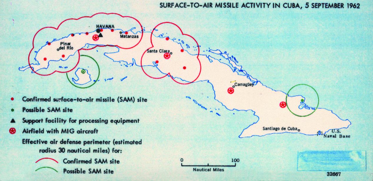 キューバのミサイル基地想定図(1962年)