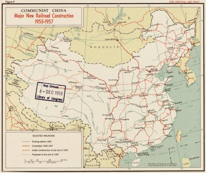 中国の鉄道路線図、1950年代中頃。