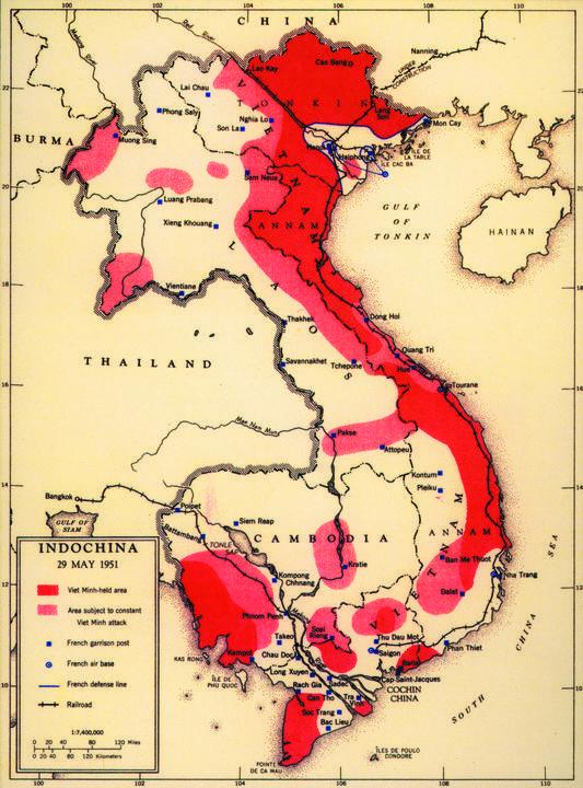 フランスとベトナム独立同盟の支配地域、1950年代。