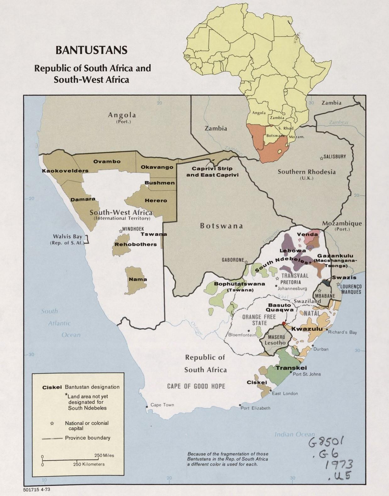 南アフリカ共和国のアフリカ人自治区、1973年。