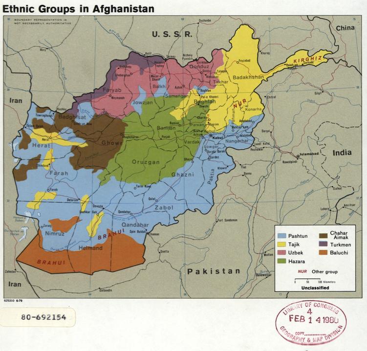 アフガニスタンの民族分布図、1979年。