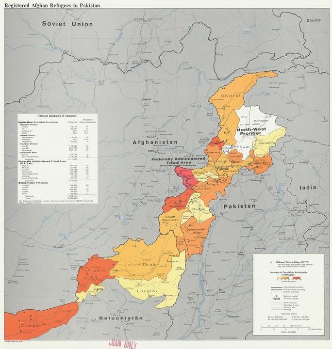 アフガニスタン-パキスタン国境間の難民移動による人口変動、1982年。