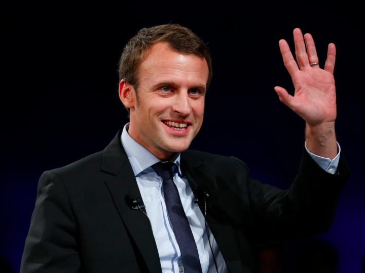 次期フランス大統領エマニュエル・マクロン氏の写真