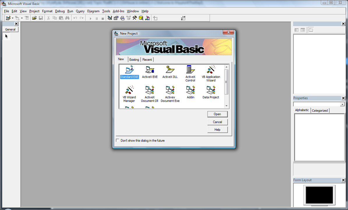 Microsoft Visual Basicの画面