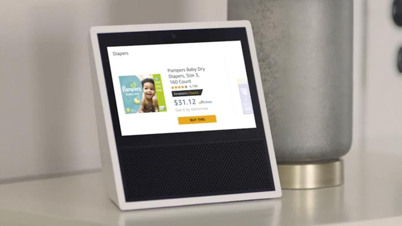 「Amazon Echo Show」から紙おむつを購入中の画面