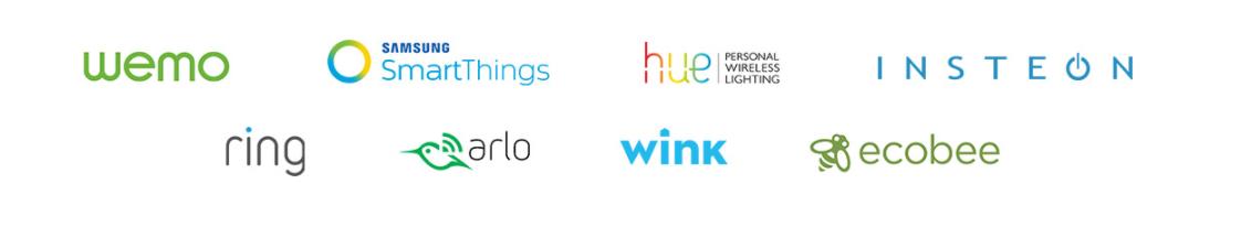 「Echo Show」と連携可能なスマート家電のリスト。Wemo、SmartThings、huei、INSTEON、ring、arlo、wink、ecobee