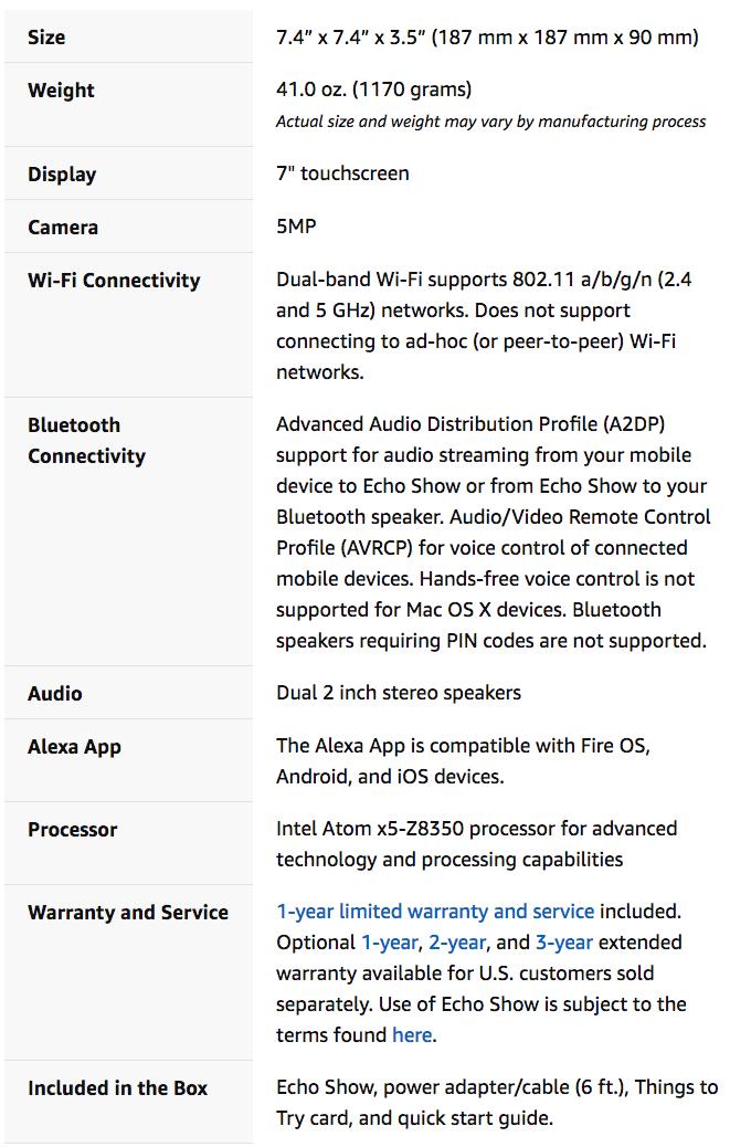 「Amazon Echo Show」の仕様詳細