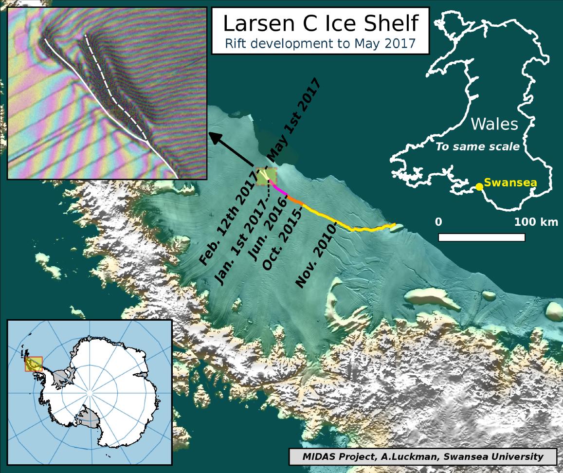 ラーセンC棚氷を走る巨大な亀裂の様子