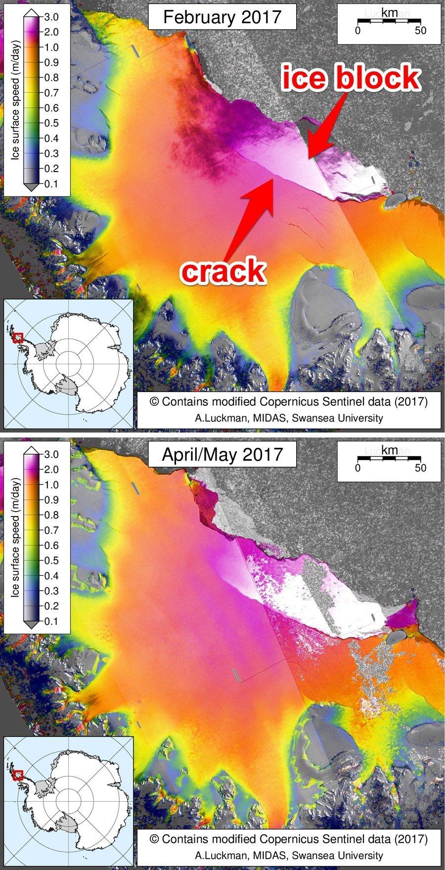 氷の表面の移動速度に応じてラーセンC棚氷の各部を色分けした図像