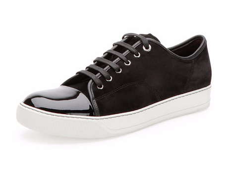 ランバン「Suede & Patent Leather Low-Top Sneaker」