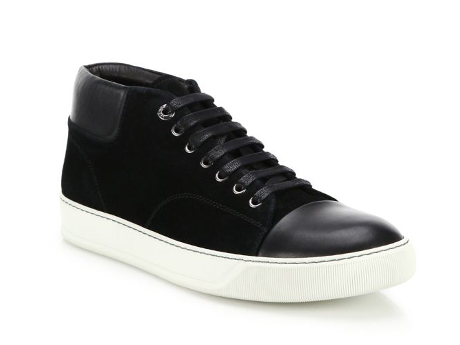 ランバン「Classic Leather & Suede High-Top Sneakers」