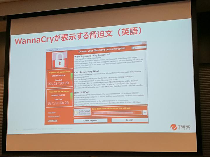 WannaCryの英語画面