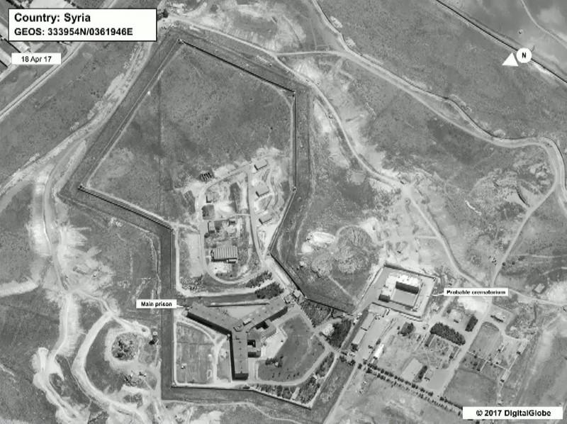 国務省が提供した衛星写真、火葬場が建設されたとするサイドナヤ刑務所