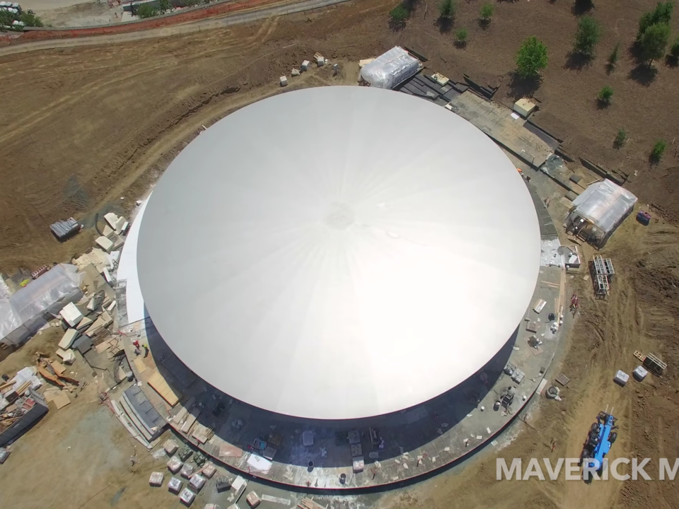 The roof of the Steve Jobs Theater