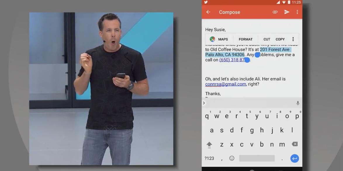 Android Oのテキスト選択中画面