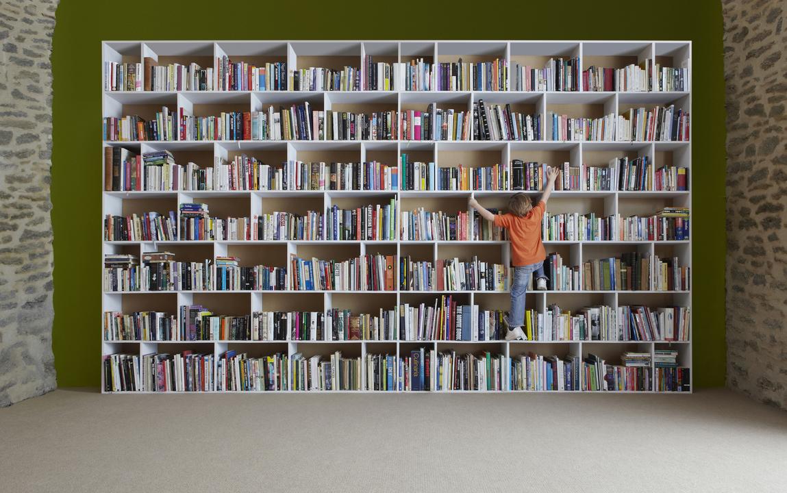 本棚に登る子ども