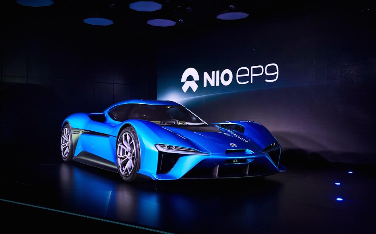 中国のスタートアップ企業NextEVの電気スーパーカー「Nio EP9」、前方右からのショット