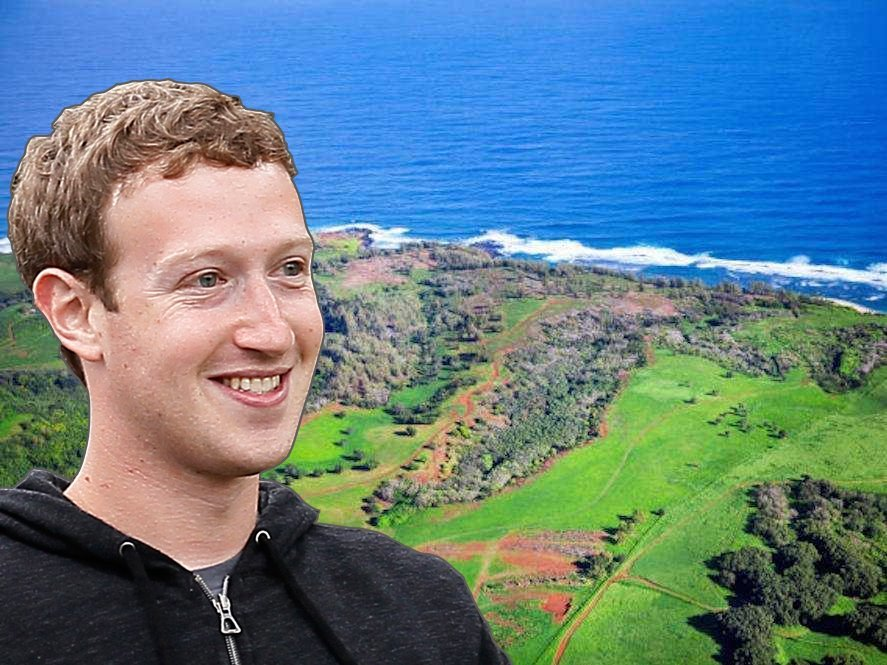 2014年10月、ザッカ―バーグはハワイのカウアイ島の人里離れたところにある750エーカー(約3平方キロメートル)の土地を、約1億ドル(約110億円)で購入した。