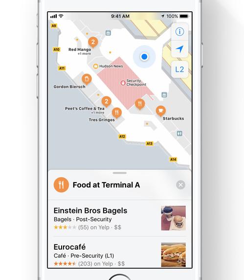 空港内マップが表示されている画面