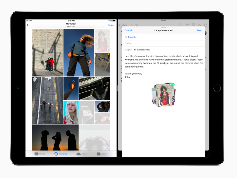 iPadのマルチタスク機能動作中の画面