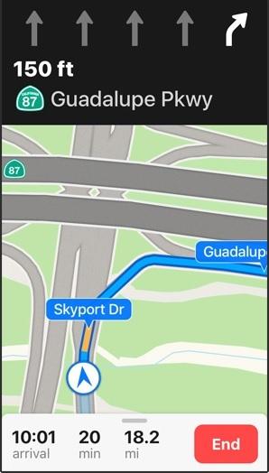 マップに車のターン方向が表示されている画面