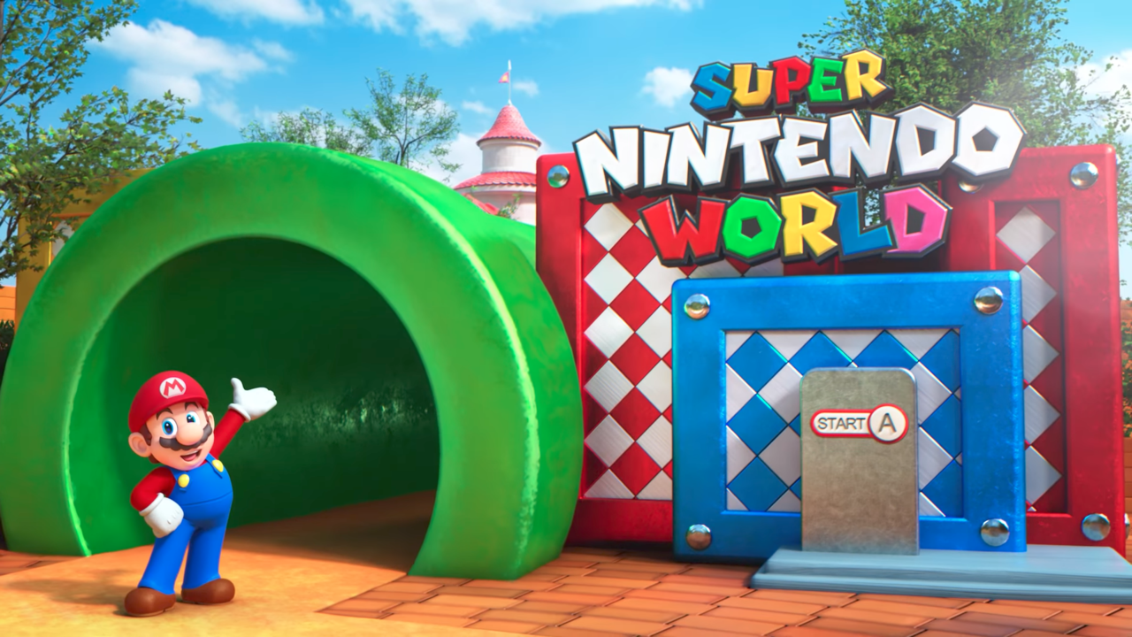 「SUPER NINTENDO WORLD」を紹介するマリオ