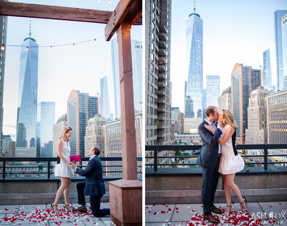 プロポーズが成功し、口づけを交わす男女。