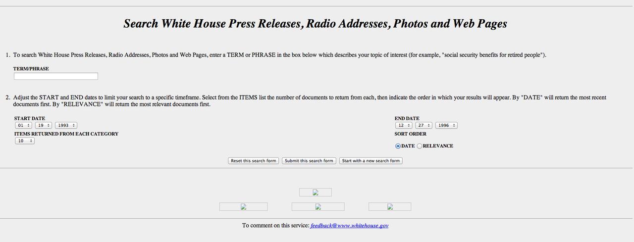 ホワイトハウス公式サイト、1996年