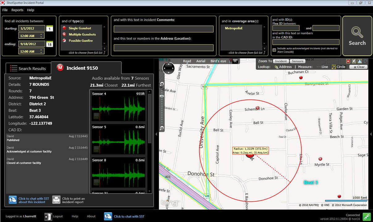 ShotSpotterの通報画面