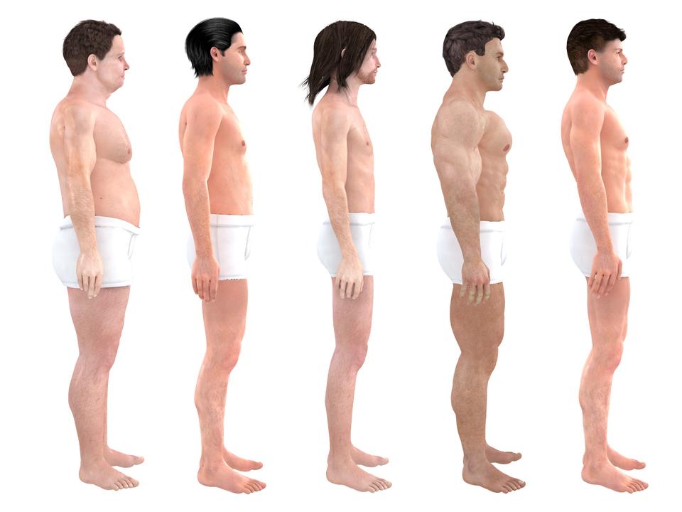 「理想」の体型の3Dモデルを並べた様子、右側面から