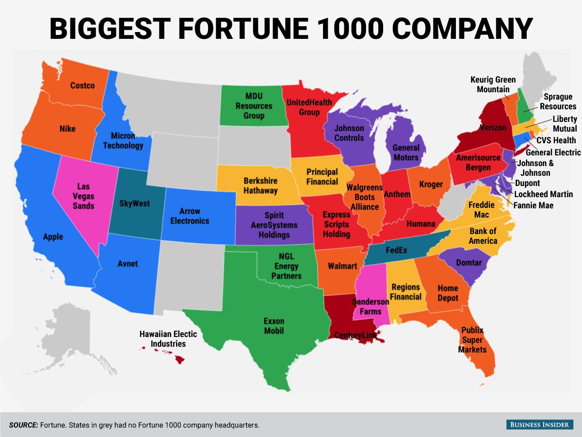 フォーチュン1000に選出される大企業の本社所在地