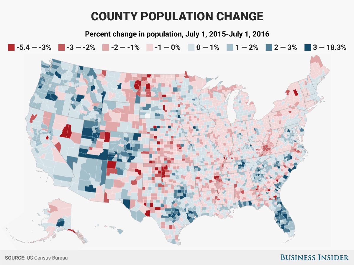 各郡の人口の増減:人口の割合の変化(2015年7月1日~2016年7月1日)