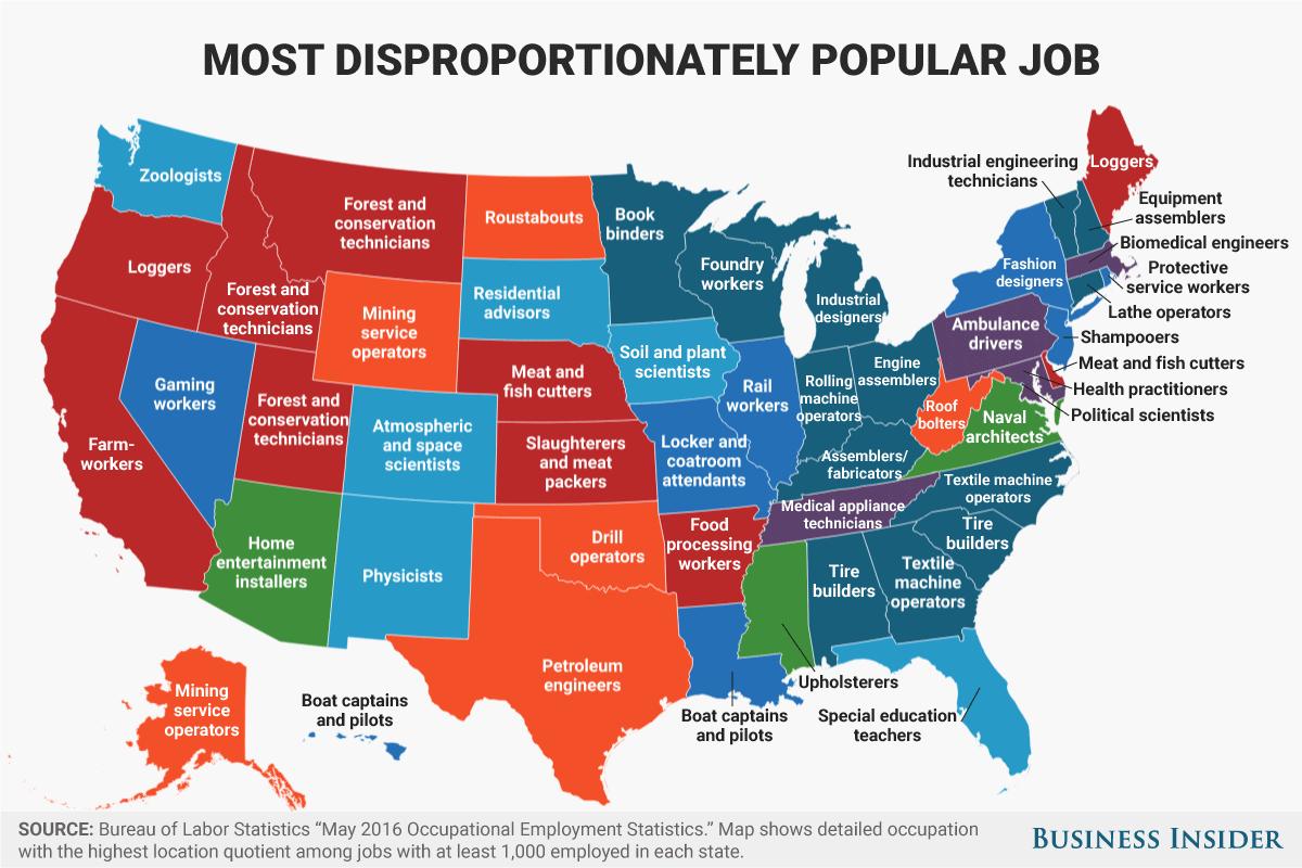 州別人気職業ナンバー1