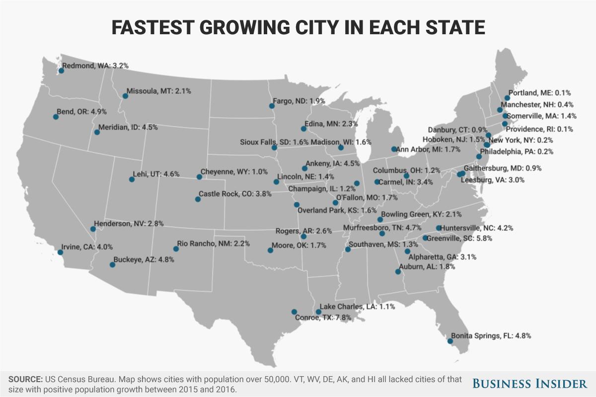 各州で最も人口が急増している都市