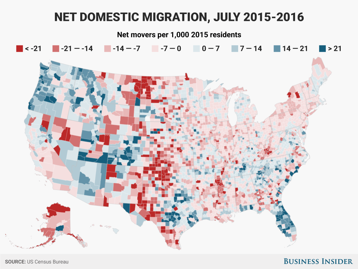 国内移動正味数(2015年7月~2016年7月):2015年の居住者1000人当たりの純移住者数