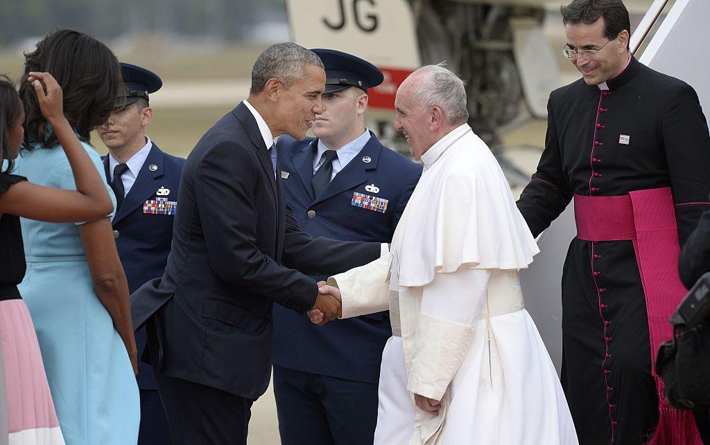 アメリカのオバマ大統領(当時)とローマ法王フランシスコ