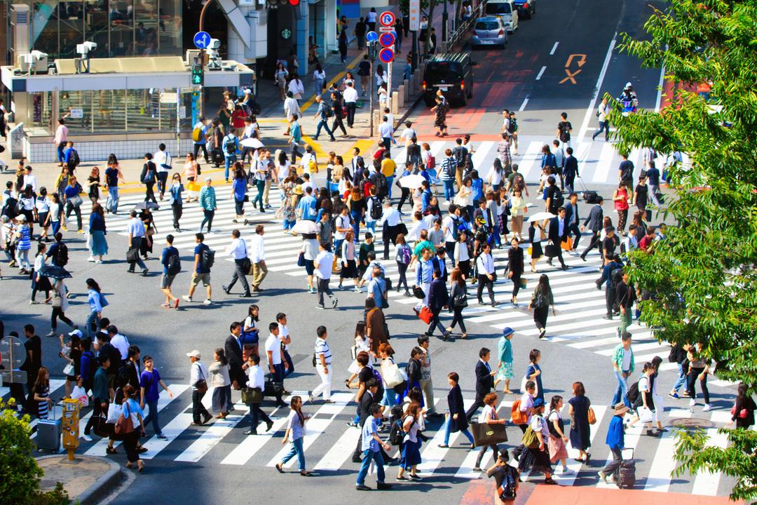 渋谷の交差点風景