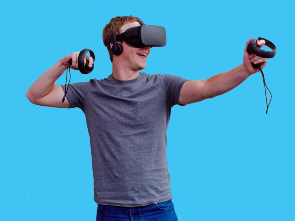 Oculus Riftとタッチコントローラーを身につけるFacebookのCEOマーク・ザッカーバーグ氏